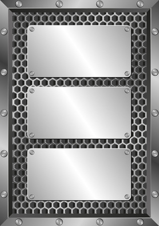 grille: metal background with three plaques