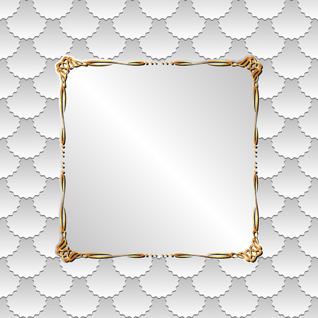 golden frame: white background with golden frame Illustration