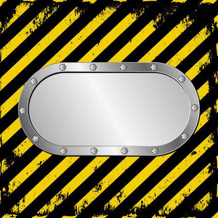 warnings: metal plaque on warning tape