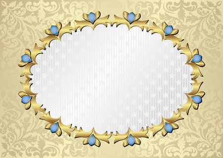 ornate background with decorative frame Illustration