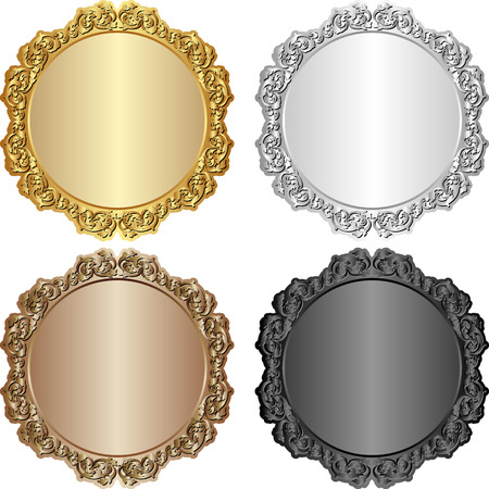 shone: set of vintage banners - gold, silver, brown and black
