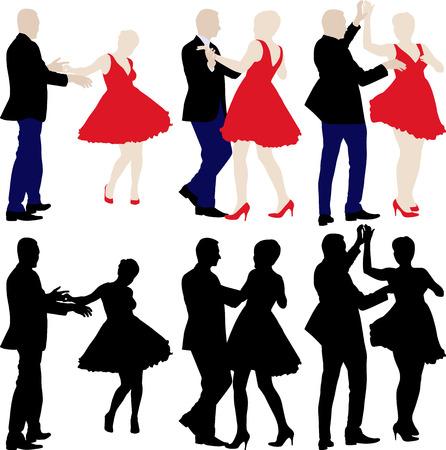 silhouetten van dansers Stock Illustratie