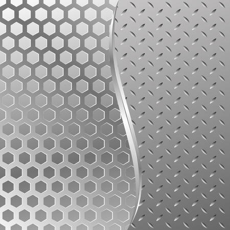 divided: metal textured background divided into two Illustration