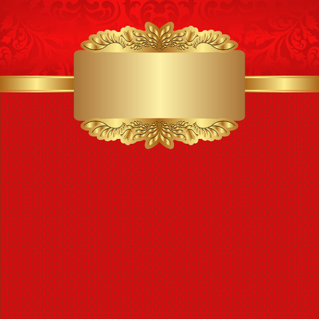 red banner: red background with golden banner