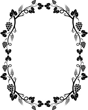 oval  alcohol: silhouette of grapevine frame
