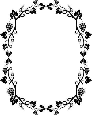 ovalo: silueta del marco de la vid Vectores