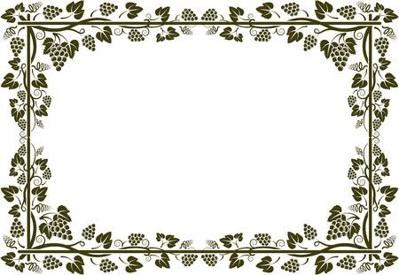 포도 나무 프레임의 실루엣 일러스트