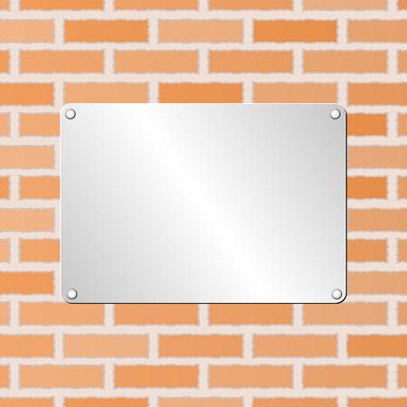 placa bacteriana: placa de metal en la pared de ladrillo