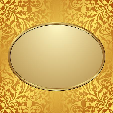 gold plaque: golden plate on vintage pattern Illustration