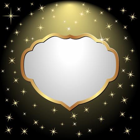placa bacteriana: marco de oro en fondo negro con estrellas Vectores