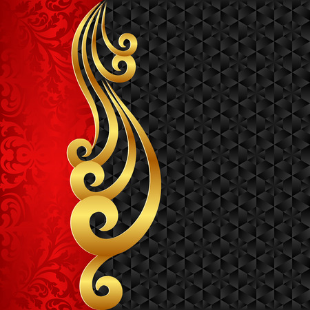 classical arts: black background and golden ornament Illustration