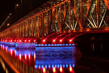 illuminated: Illuminated bridge in Plock, Poland