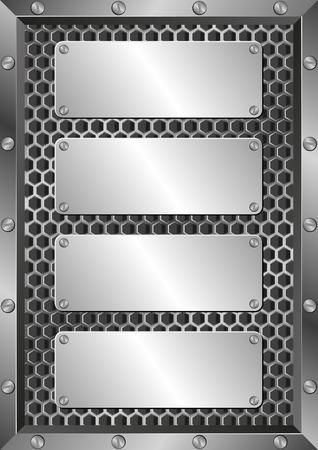 tornillos: fondo de metal con cuatro placas Vectores
