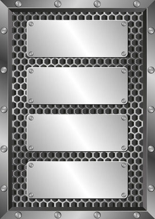 grille: metal background with four plaques