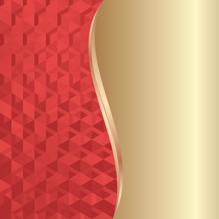 the divided: red texture and golden background divided into two