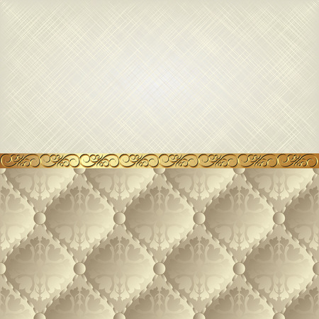 pattern vintage: beige texture and vintage pattern divided into two Illustration