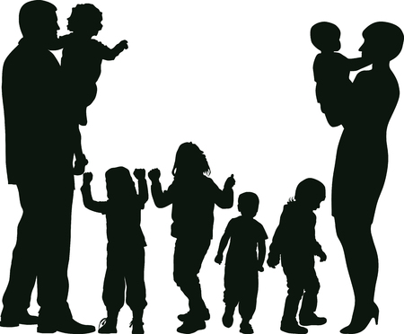 big family: silhouette of big family