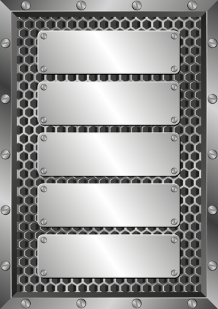 plaques: metal background with five plaques