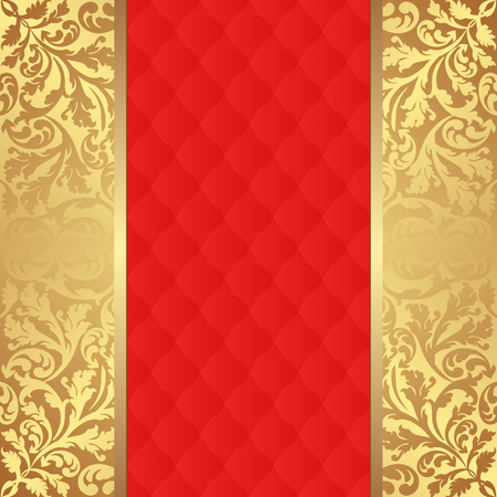 red gold: red pattern and golden ornaments