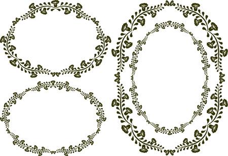 ovalo: un conjunto de cuatro cuadros de flores Vectores