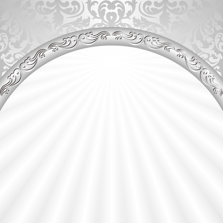 white background with silver ornaments Vectores