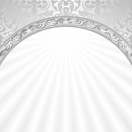 verschnörkelt: weißen Hintergrund mit silbernen Ornamenten