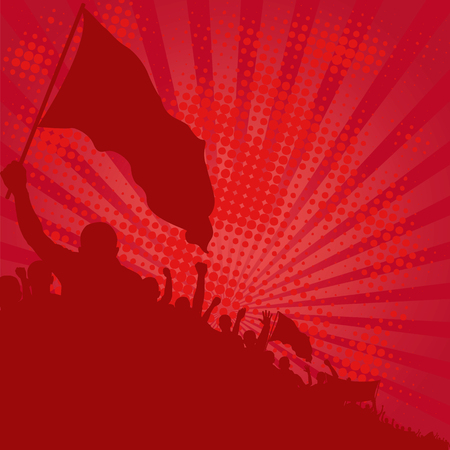 red background with demonstrators