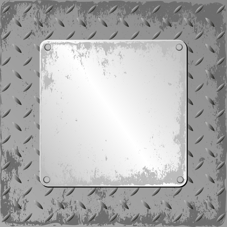 iron and steel: grunge steel sheet with metal plaque