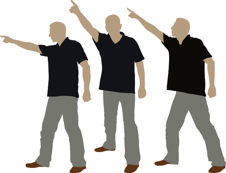 man pointing his finger for the direction