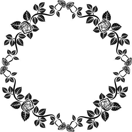 marcos redondos: silueta del marco de la rosa Vectores