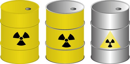 nuclear disaster: set of isolated barrels with radioactive symbol