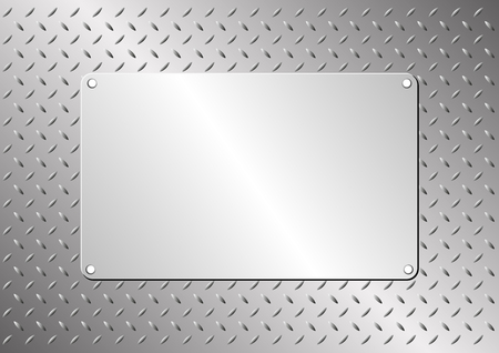 iron and steel: metal plaque on steel sheet Illustration