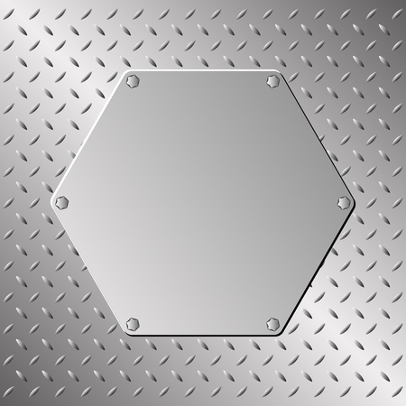 screws: metal plaque on steel sheet Illustration