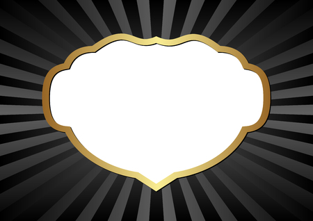 golden frame: black background with golden frame and transparent space inside