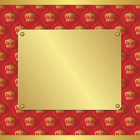 plaque: royal background with golden plaque
