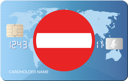 no entry: credit card with no entry sign Illustration