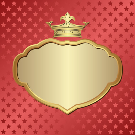 shone: red background with stars and golden frame
