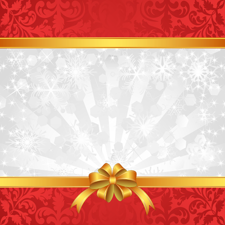 red ribbon bow: christmas background with ribbons and snowflakes