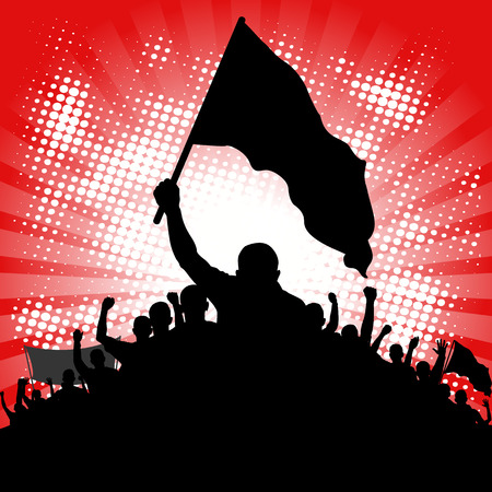 protesters: abstract background with silhouette of protesters with banners
