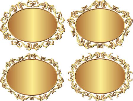 ovalo: un conjunto de marcos de oro aisladas Vectores