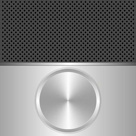 silver metal: silver and black background with round banner