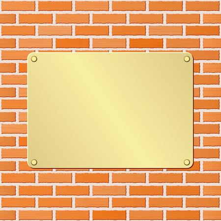 placa bacteriana: golden plaque on brick wall