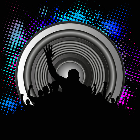 music figure: music background with crowd and speaker Illustration