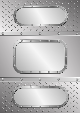 iron and steel: three metal banners on metal texture Illustration