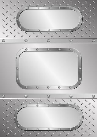 acero: tres banderas del metal en la textura del metal Vectores