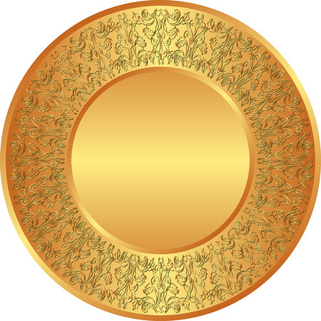 plate: golden plate with antique ornaments
