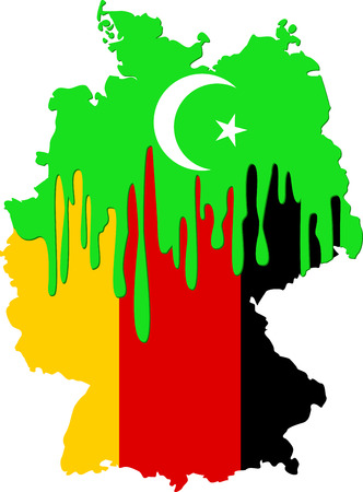 emigration: concept of emigration Islamists to Germany with symbols of Islam and Germany Illustration