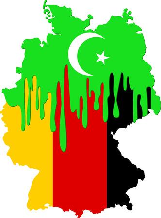 emigranti: concetto di emigrazione islamisti in Germania con i simboli dell'Islam e della Germania Vettoriali