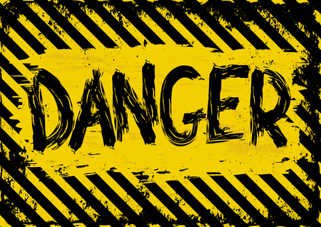 barrier tape: grunge background with yellow and black danger symbol