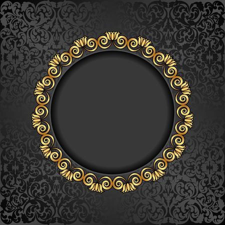 marcos decorativos: fondo antiguo con marco de oro Vectores
